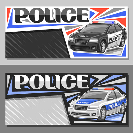 Vector banners for Police Car, layouts with illustration of modern sedan of municipal road department, decorative lettering for word police, brochures with copy space on gray abstract background. Illustration