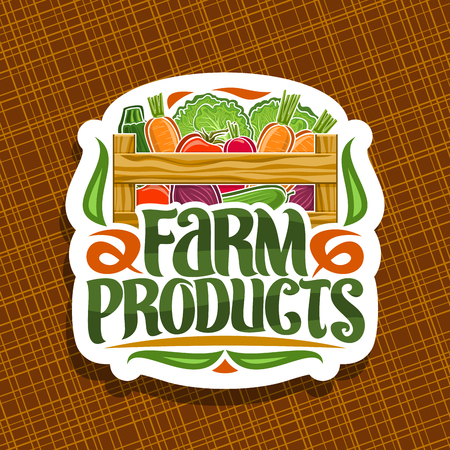 Vector logo for Farm Products, decorative cut paper sign with pile of beet root, raw marrow and radish in wood carrying crate, brush typography for words farm products, white signage for farmer market Illustration