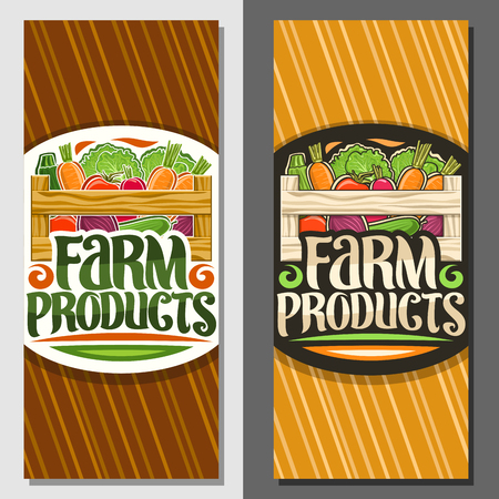 Vector coupons for Farm Products, voucher with pile of carrot, raw zucchini and lettuce in carrying crate, brush typography for words farm products, rural layouts with vegetables for farm supermarket. Banque d'images - 122937027