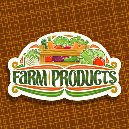 Vector logo for Farm Products, white sign board with heap of cucumber, raw beetroot and marrow in wood carrying crate, typography for words farm products, rural design label with veggie for farm store