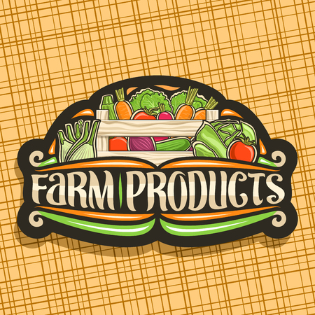 Vector logo for Farm Products, black sign board with heap of cucumber, raw beetroot and marrow in wood carrying crate, typography for words farm products, rural design label with veggie for farm store