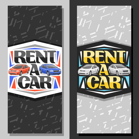 Vector layouts for Rent a Car, coupons with 2 cartoon different automobiles and original lettering for words rent a car, automotive signboard for economy rental company with grey abstract background. Иллюстрация