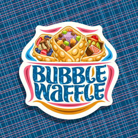 Vector logo for Bubble Waffle, decorative cut paper sticker with 3 variety hong kong desserts with assorted ingredients, signboard with original lettering for words bubble waffle on blue background. Illustration