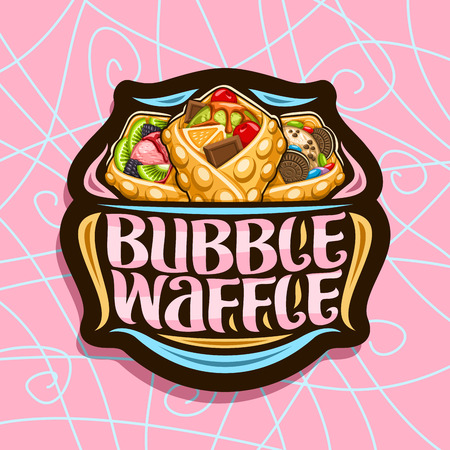 Vector logo for Bubble Waffle, dark decorative stamp with 3 variety hong kong desserts with assorted fruit ingredients, sign board with original lettering for words bubble waffle on pink background. Illustration