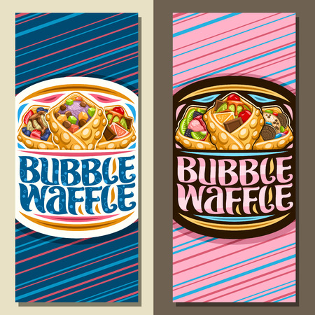 Vector banners for Bubble Waffle, layouts with 3 variety hong kong desserts with different berry ingredients, sign board with original lettering for words bubble waffle on blue and pink background. Illustration