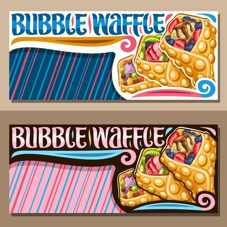 Banners vectoriales para Bubble Waffle con espacio de copia azul y rosa, diseños con 3 variedades de postres de hong kong con diferentes ingredientes de bayas, letrero con letras originales para palabras bubble waffle.