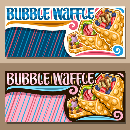 Vector banners for Bubble Waffle with blue and pink copy space, layouts with 3 variety hong kong desserts with different berry ingredients, sign board with original lettering for words bubble waffle.