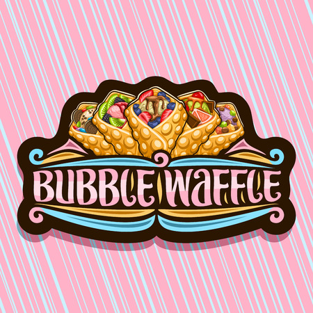 Vector logo for Bubble Waffle, dark decorative badge with 5 variety hong kong yummy desserts with berry ingredients, sign board with original brush lettering for words bubble waffle on pink background