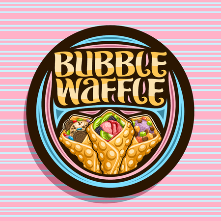 Vector logo for Bubble Waffle, dark decorative stamp with 3 variety hong kong yummy desserts with different ingredients, signboard with original lettering for words bubble waffle on pink background.