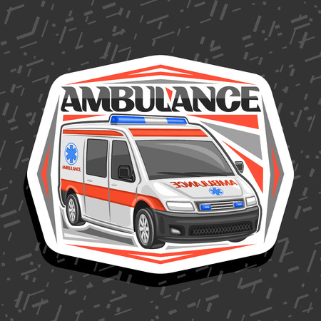 Vector logo for Ambulance, decorative cut paper badge with white van for emergency with blue alarm flashers, original lettering for word ambulance, signage for first aid station on grey background.