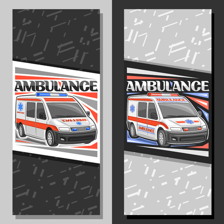 Vector layouts for Ambulance, signboards with white van for emergency with blue and red alarm flashers, original typeface for word ambulance, sign board for first aid station with gray background.