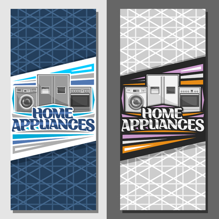 Vector layouts for Home Appliances, signage with illustration of washing machine, large fridge with screen, electric cooker, original lettering for words home appliances on blue and grey background.