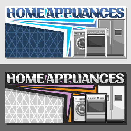 Vector layouts for Home Appliances with copy space, signage with washing machine, electric cooker, large fridge with screen, original lettering for words home appliances on blue and grey background.