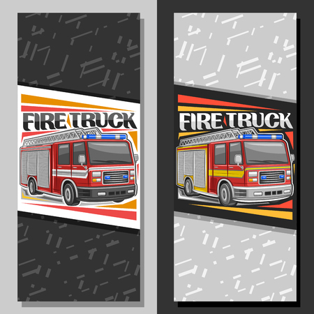 Vector layouts for Fire Truck, brochure with illustration of red modern firetrucks with white and yellow stripe and blue alarm lights, original lettering for words fire truck on abstract background.