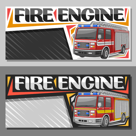 Vector banners for Fire Engine with copy space, leaflets with red modern firetrucks with white and yellow stripe and blue alarm lights, original lettering for words fire engine on abstract background.