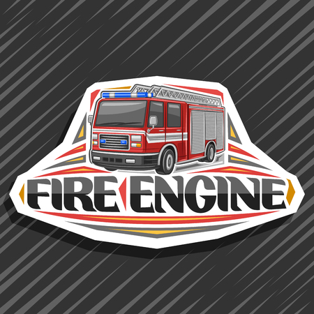 Vector logo for Fire Engine, decorative cut paper badge with illustration of modern firetruck with white stripe and blue alarm lights, original lettering for words fire engine on abstract background.