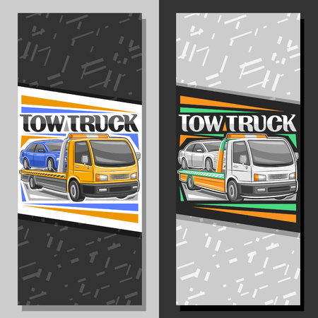 Vector vertical layouts for Tow Truck, leaflet with illustration of evacuator with orange alarm lights towing fixed car in workshop, original lettering for words tow truck on gray abstract background.