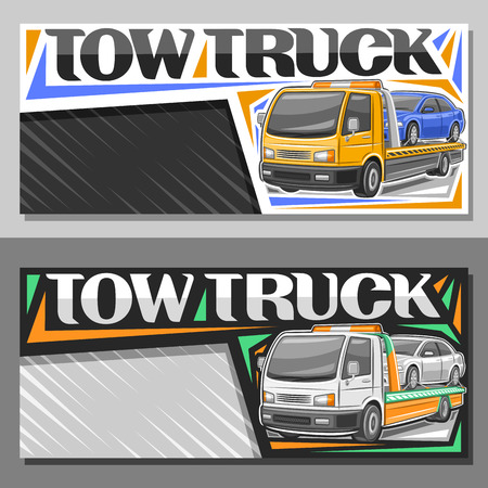 Vector layouts for Tow Truck with copy space, leaflet with illustration of evacuator with orange alarm lights towing fixed car in workshop, original lettering for words tow truck on gray background.