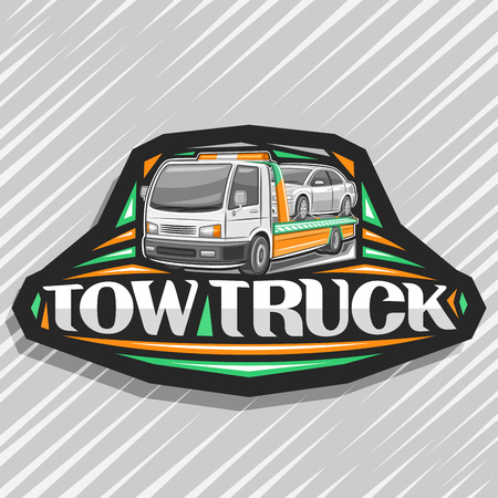 Vector logo for Tow Truck, black decorative label with illustration of evacuator transportation fixed car with orange alarm lights, original lettering for words tow truck on gray abstract background.
