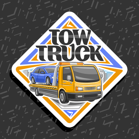 Vector logo for Tow Truck, white sticker with illustration of evacuator with orange alarm lights towing fixed car in workshop, label with original lettering for words tow truck on gray background. Illustration