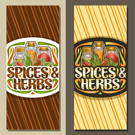 Vector vertical layouts for Spices and Herbs, coupons with illustration of set indian fresh seasonings in glass boxes, leaflet with flourishes and original brush lettering for words spices & herbs.