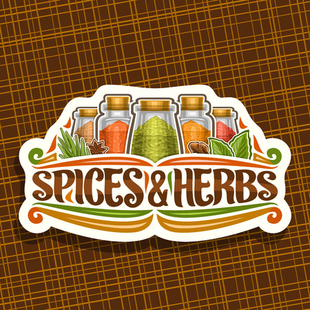 Vector logo for Spices and Herbs, decorative cut paper sign with illustration of set fresh indian seasonings in glass boxes, vintage flourishes and original brush typeface for words spices & herbs.