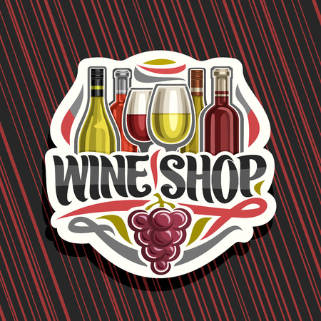 Vector logo for Wine Shop, cut paper sign with set of cartoon french wine bottles and half full shiny wineglasses, decorative flourishes and lettering for words wine shop, red bunch of grapes fruit.