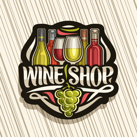 Vector logo for Wine Shop, black signboard with illustration of set italian wine bottles and half full wineglasses, decorative flourishes and lettering for words wine shop, green bunch of grapes fruit Illustration