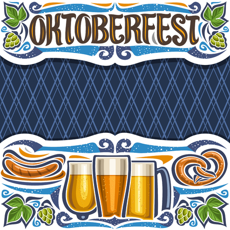 Vector poster for Oktoberfest with copy space, layout with cut paper header with lettering for word oktoberfest, blue rhombus background for greeting text, grill sausages on dish and beer glasses.