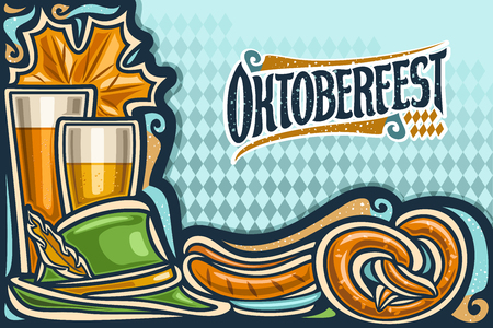 Vector greeting card for Oktoberfest with copy space, invitation with original lettering for word oktoberfest on blue rhomb background, beer glasses, old green hat, grill sausages and cartoon pretzel. Çizim