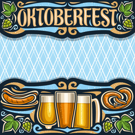 Vector poster for Oktoberfest with copy space, invitation with dark header with lettering for word oktoberfest, blue diamond background for greeting text, grill sausages on plate and beer glasses. Çizim