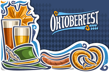 Vector greeting card for Oktoberfest with copy space, invitation with original lettering for word oktoberfest on blue rhomb background, maple leaf, beer glasses, green hat and grill sausages on plate.