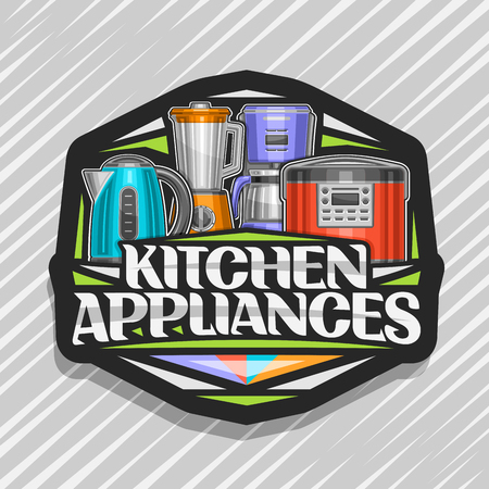 Vector logo for Kitchen Appliances, black sign with illustration of set various electrical goods, original lettering for words kitchen appliances and decorative elements on grey abstract background. 스톡 콘텐츠 - 124400692