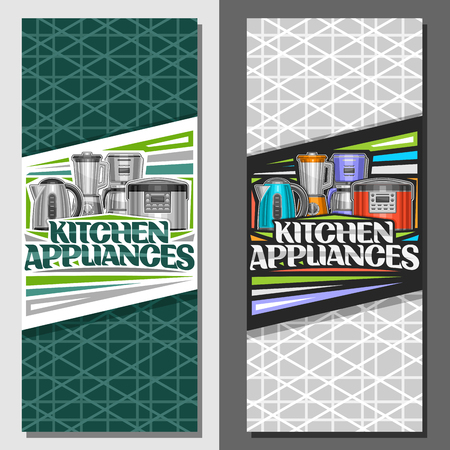 Vector layouts for Kitchen Appliances, leaflets with illustration of set various electrical goods, original lettering for words kitchen appliances and decorative elements on green abstract background.