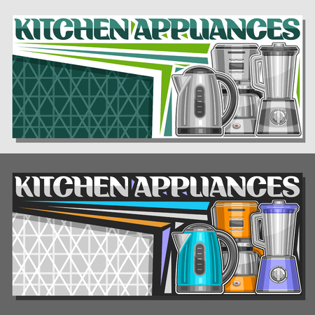 Vector leaflets for Kitchen Appliances with copy space, illustration of set variety electrical goods, original typeface for word kitchen appliances and decorative elements on green abstract background