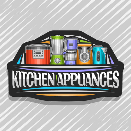 Vector logo for Kitchen Appliances, black sign with illustration of set different electrical goods, original typeface for words kitchen appliances and decorative elements on grey abstract background. 일러스트
