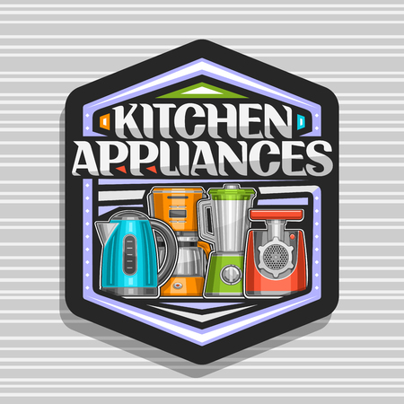 Vector logo for Kitchen Appliances, black hexagonal badge with illustration of set different electrical goods, original typeface for words kitchen appliances and decorative elements on gray background 스톡 콘텐츠 - 124400710