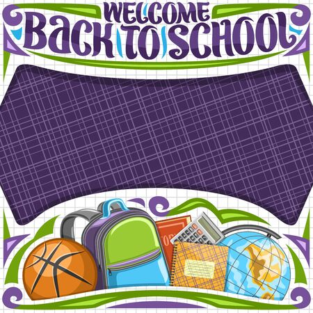 Vector poster for School with copy space, original brush lettering for words welcome back to school, decorative cut paper frame with purple checkered background and illustration of school accessories. Illusztráció