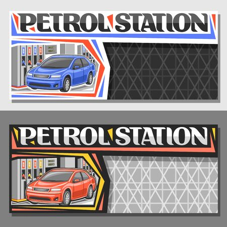 Petrol Station with copy space, horizontal banners with illustration of blue and red cars, filling gasoline, original lettering for words petrol station on grey cells background.