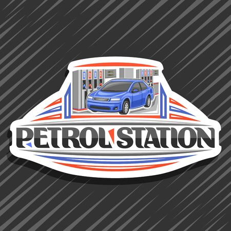 Petrol Station, white decorative badge with illustration of blue car, filling gasoline, creative icon with original lettering for words petrol station on gray abstract background. 일러스트
