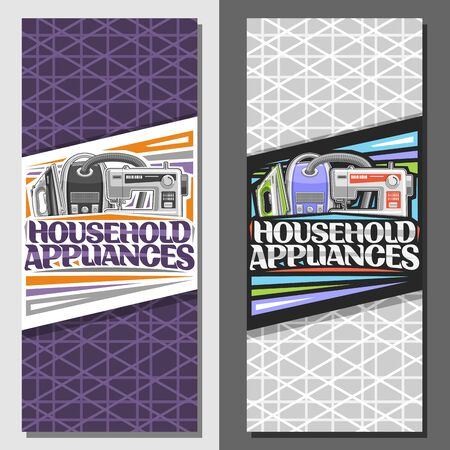 Vector banners for Household Appliances, brochures with steam iron, metal vacuum cleaner and sewing machine, original lettering for words household appliances on purple and grey abstract background. 일러스트