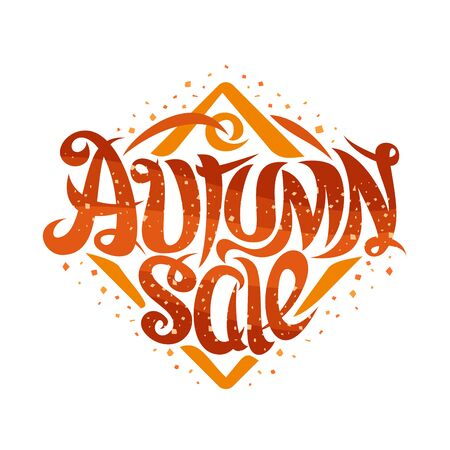 Vector poster for Autumn Sale, curly calligraphic font with decorative elements, creative price tag with swirly elegant lettering for orange words autumn sale in rhombus shape on white background. 일러스트