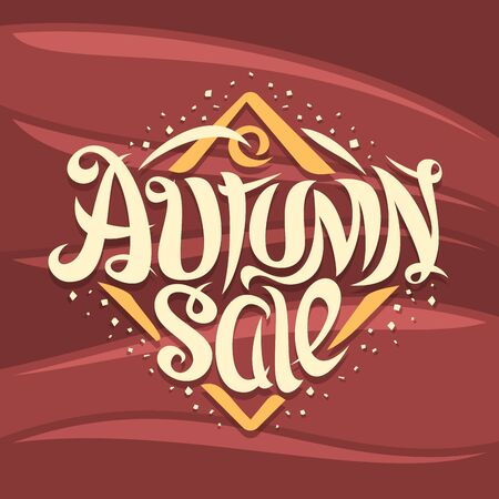 Vector poster for Autumn Sale, curly calligraphic font with decorative elements, creative price tag with swirly elegant lettering for words autumn sale in rhombus shape on abstract waves background.