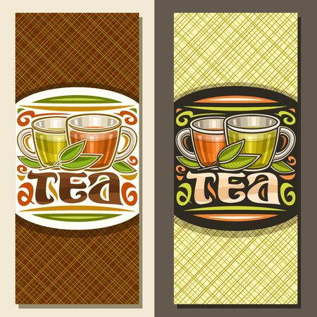Vector layouts for Tea, brochure with illustration of 2 glass cups with yellow and brown liquid, fresh sprig of tea and flourishes, design signage with original decorative lettering for tea restaurant