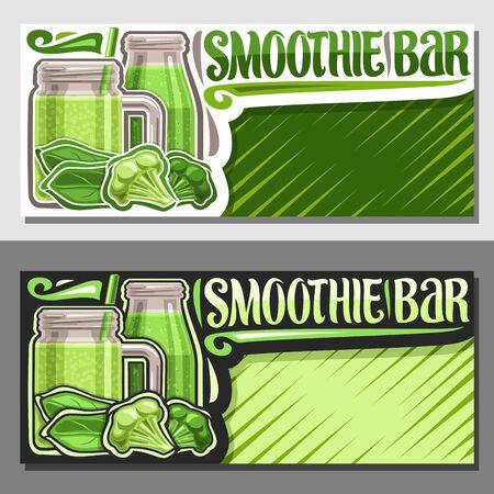 Diseños vectoriales para Smoothie Bar con espacio de copia, invitaciones con jugosos ingredientes crudos, tarro de albañil con líquido verde natural mezclado con paja, letrero con fuente decorativa para palabras smoothie bar.