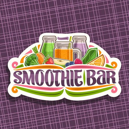 Vector for Smoothie Bar, decorative cut paper sticker with illustration of juicy fruit ingredients, mason jar with homemade blended liquid, white sign board with lettering for words smoothie bar.