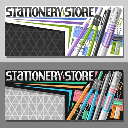 Vector layouts for Stationery Store with copy space, sign board with group of different colorful school accessories for learning, decorative lettering for words stationery store on grey background. Vettoriali