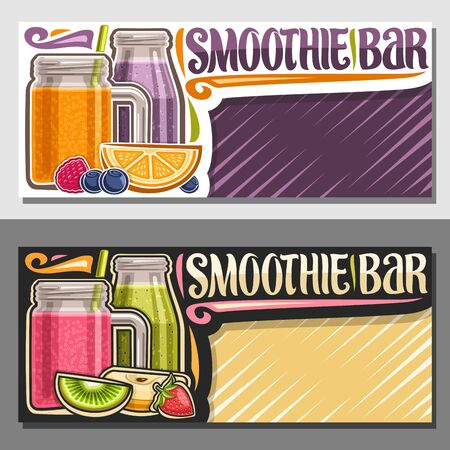 Vector layouts for Smoothie Bar with copy space, coupons with juicy fruit ingredients, mason jar with sweet tropical blended dessert with straw, sign board with decorative font for words smoothie bar. 일러스트