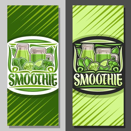 Vector layouts for Green Smoothie, coupon with illustration of juicy veggies set, bottle and mason jar with homemade blended beverage, voucher with lettering for word smoothie on green background. Çizim