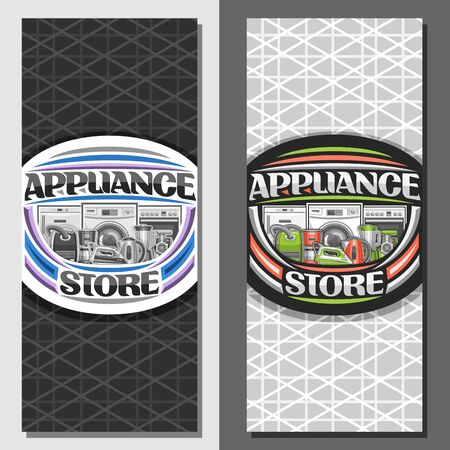 Vector layouts for Appliance Store, brochure with illustration of variety new metal home appliances, decorative font for words appliance store, sign board with kitchen and household tech accessories.